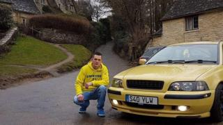 Matty Bee and his yellow Volvo S40