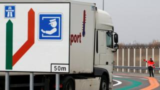 lorry next to customs sign at French terminal
