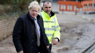 Prime Minister Boris Johnson visits Bewdley in Worcestershire to see recovery efforts following recent flooding in the Severn valley and across the UK