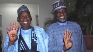 Governor Abdulahi Ganduje and his deputy NasirU Gawuna afta di announcement by INEC say na dem win.