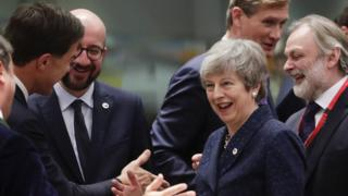"Luxembourg""s Prime Minister Xavier Bettel, Dutch Prime Minister Mark Rutte, Belgium""s Prime Minister Charles Michel, Britain's Prime Minister Theresa May and President of the European Commission Jean-Claude Juncker share a smile and a joke at last week's European Council summit"
