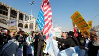 مظاهرات ضد امريكا في إيران