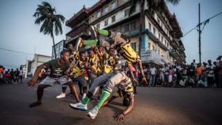 Street dancers in Sierra Leone