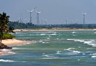Wind turbines on the coast in the town of Kanyakumari in Tamil Nadu.