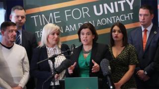 Sinn Féin leader Mary Lou McDonald with party colleagues at the menifesto event