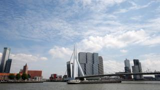 The Erasmusbrug (Erasmus bridge) over the river Maas in Rotterdam