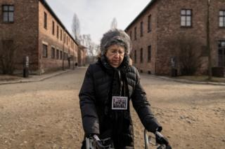 Holocaust survivor Miriam Ziegler visits the site of the former German Nazi death camp Auschwitz