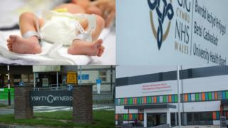 New born baby, Betsi Cadwaladr sign, sign for Ysbyty Gwynedd, and outside A&E at Glan Clwyd Hospital