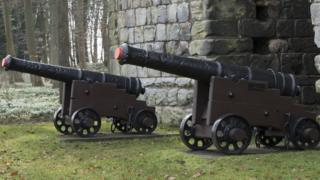 Two nine-pounder cannon at Etal Castle, Northumberland