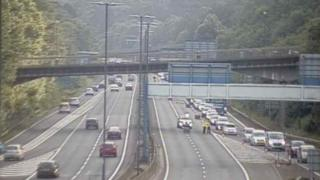 Police diverting traffic on the M4 near Newport