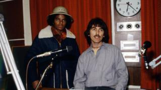 Michael Jackson and George Harrison at Radio 1 in 1979