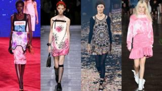 从左到右: Calvin Klein, 普拉达(Prada), 迪奥(Christian Dior), MSGM
