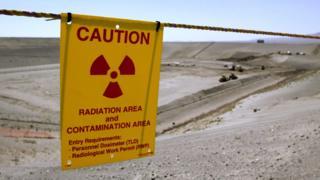 Cartel en la instalación nuclear de Hanford