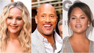 Jennifer Lawrence, The Rock and Chrissy Teigen