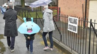Activity in and around Brownlee Primary school in Lisburn as People head to the polling stations around Northern Ireland on Polling day during the 2017 general elections