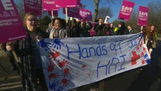 Protest over plans to close the Accident and Emergency department at Huddersfield Royal Infirmary