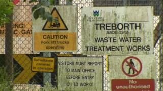 Treborth waste water plant warning signs