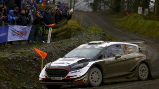 Elfyn Evans in action on day two of the Wales Rally GB in 2018