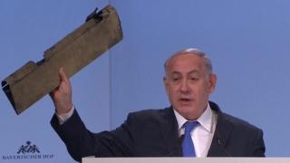 Mr Netanyahu oo soo bandhigaya haraadiga diyaarad Drones ah oo ay Iiraan leedhay ayna soo rideen militariga Israa'iil
