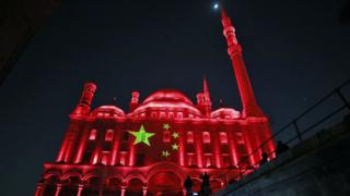 in_pictures The Citadel of Saladin illuminated in the colours of the Chinese flag in Cairo, Egypt - Sunday 1 March 2020