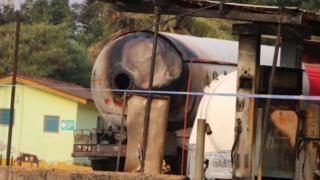 A burnt gas tanker.