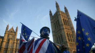 Пикетчик за ЕС у парламента Британии