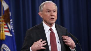 Jeff Sessions answers questions during a press conference at the Department of Justice on 2 March, 2017 in Washington, DC.