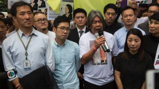 (左至右)姚松炎、羅冠聰、梁國雄及劉小麗於宣判前出席抗議活動(14/7/2017)