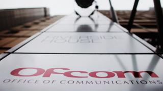 Ofcom logo on the front of its headquarters