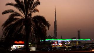 A petrol station and fast food restaurant in Dubai