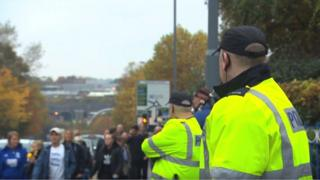 police officers on roads before Birmingham City V Aston Villa