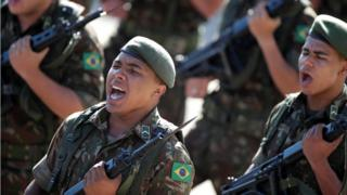 A military ceremony to mark the coup anniversary in Brasilia