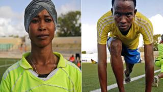 Somalia's athletes Mohamed Daud Mohamed (R) and Marian Nuh Muse