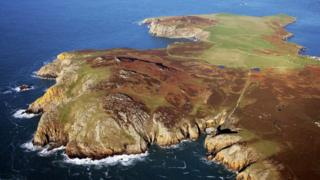 Aerial photo of Ramsey Island.