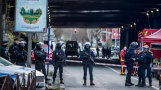 Police officers on scene in Villejuif shortly after stabbings