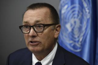 UN under secretary general for political affairs Jeffrey Feltman, attends a press conference in Bogota on 15 November 2017