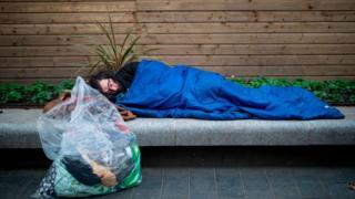 Man sleeping rough in London