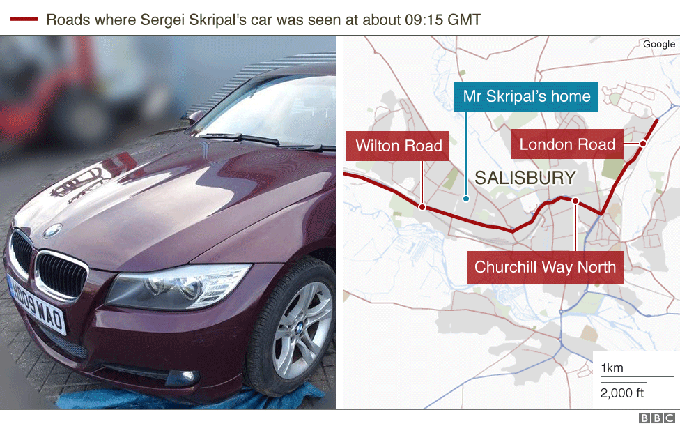 Map showing sightings of Sergei Skripal's car