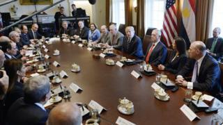 اجتماع الوفد المصري بالوفد الأمريكي في لقاء القمة بين السيسي وترامب بالبيت الأبيض