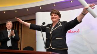 Arlene Foster accepts the applause after her speech at the DUP conference in 2015