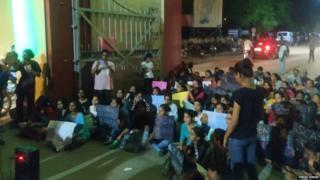 Girl students sitting on strike in Banaras Hindu University