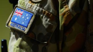 Australia flag badge on the uniform of an ADF member.