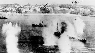Обстрел кораблей союзников при высадке в Нормандии