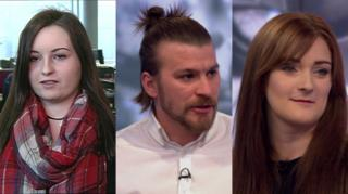 Sarah, Josh and Jade appearing on the Victoria Derbyshire programme