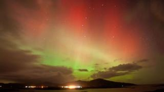 Aurora borealis photographed from South Uist