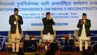 Nepalese Prime Minister Sushil Koirala (centre) at the donors' conference in Kathmandu - 25 June 2015