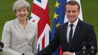 Theresa May and Emmanuel Macron in Paris on 13 June 2017