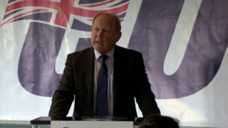 Jim Allister speaking at the TUV party conference