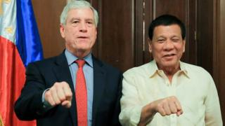 Asis head Nick Warner and Philippines President Rodrigo Duterte