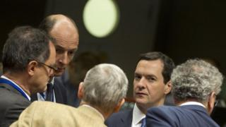 George Osborne during a meeting with EU finance ministers